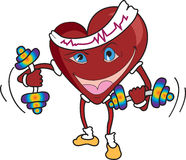 Vector heart doing fitness exercises. Stock Images