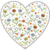 Vector heart element with daisy flowers and bellflowers inside Stock Photo