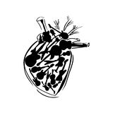 Vector heart filled with guitars. Vector heart filled with different guitars royalty free illustration