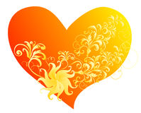 Vector Heart with a flower ornament Stock Photos