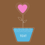 Vector heart flower in pot. Card Royalty Free Stock Image