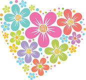 Vector heart from flowers Royalty Free Stock Photos
