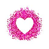 VECTOR heart frame, heart shape confetti, pile of hearts, romantic background, pink and red paper hearts. White Background royalty free illustration