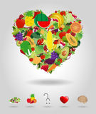 Vector heart of fruits and vegetables Stock Photo