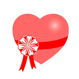 Vector, heart, gift. The heart which has been tied up by a tape. Vector illustration Royalty Free Stock Photo