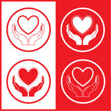 Vector heart and hands icons Royalty Free Stock Photos