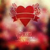 Vector heart with herbs and ribbon on blurred background. Blurre. D template. Invitation card in a tribal style. Holiday backdrop. Wedding invitation. Valentine' Stock Photo