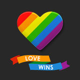 Vector Heart in LGBT flag colors. Rainbow template, Gay culture symbol. Modern colorful background with ribbon. Royalty Free Stock Image