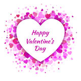 Vector Heart with light pink Hearts Valentines Day Card Background. Stock Photography