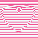 Vector heart line, stencil, dent the image.Design monochrome motion illusion twisted twirl background. Abstract lines Royalty Free Stock Images