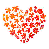 Vector heart made of autumn leaves on white background in grunge style Stock Photos
