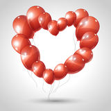 Vector heart made of balloons. Valentine Stock Images