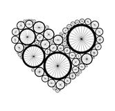 Vector heart made of bike wheels Stock Photo
