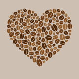 Vector heart made of colored coffee beans stock illustration