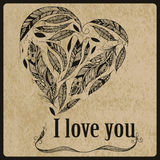 Vector Heart made of  Feathers Royalty Free Stock Photos