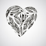 Vector Heart made of  Feathers Royalty Free Stock Images