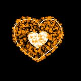 Vector heart made of many bubbles of different size and transparency.Easily editable colors. Heart of gold yellow. Vector heart made of many bubbles of different Royalty Free Stock Photo