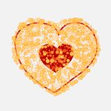Vector heart made of many bubbles of different size and transparency.Easily editable colors. Heart of gold yellow. Vector heart made of many bubbles of different Stock Photos