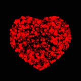 Vector heart made of many bubbles of different size and transparency.Easily editable colors. The red circles. A bright red heart on a black background Stock Image