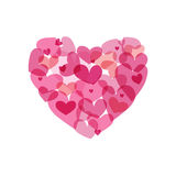 Vector heart made from small hearts Royalty Free Stock Photography