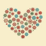 Vector Heart Made of Snowflakes Stock Photo