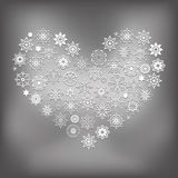 Vector Heart Made of Snowflakes Royalty Free Stock Image