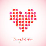 Vector heart made of watercolor circles. Valentine's Day greeting card Stock Image