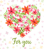 Vector heart made of watercolor flowers Stock Image