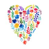 Vector heart made of watercolor flowers. Ecology emblem. Valentine's Day card. Heart icon. Royalty Free Stock Images