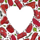 Vector heart of meat steaks royalty free illustration