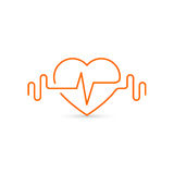 Vector heart outline, dumbbells and a cardiogram. Icon symbolizing health and sport. Lifestyle Royalty Free Stock Photo