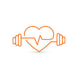 Vector heart outline, dumbbells and a cardiogram. Icon symbolizing health and sport. Lifestyle Royalty Free Stock Images