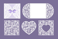 Vector heart paper cutting. White heart made of paper. Laser cut . Wedding invitation or greeting card with flowers. Invitation envelope template. Use for laser vector illustration