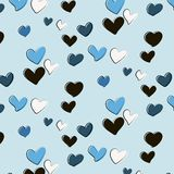 Vector heart pattern in blue colors. Acrylic hand drawn hearts fashion print. Love abstract fashion decoration. Valentines, weddin Stock Photo
