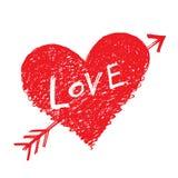 Vector heart pierced by an arrow. Vector abstract heart pierced by an arrow with word LOVE Stock Photo