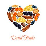 Vector heart poster of dried fruits snacks. Dried fruits poster in heart shape of sweet dry fruit snacks. Vector dried apricots, dates or raisins and prunes royalty free illustration