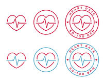 Vector heart rate icons Royalty Free Stock Photos