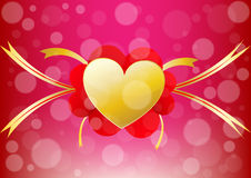 Vector heart and ribbon align center of a valentine day  backgro Stock Photos