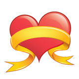 Vector Heart with Ribbon Stock Images