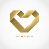 Vector Heart Ribbon Origami Logo Design Template Stock Images