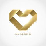 Vector Heart Ribbon Origami Logo Design Template Stock Images