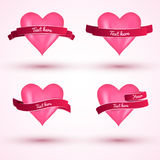Vector heart with ribbon set for Valentine's day. Royalty Free Stock Image