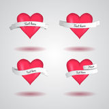 Vector heart with ribbon set for Valentine's day. Royalty Free Stock Photography