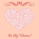 Vector heart from roses with curl Royalty Free Stock Images