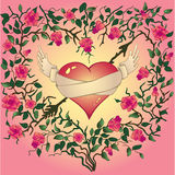 Vector heart  with roses and thorns Stock Images