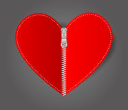 Vector Heart sealed white zipper Stock Photography