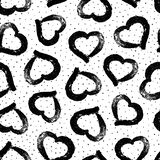 Vector heart seamless pattern. Abstract texture with grunge hearts. Stylish hand drawn heart. Black and white background. Monochro