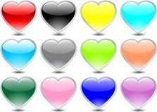 Vector heart set (silver) Stock Images