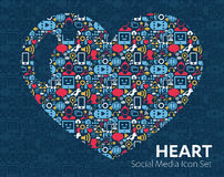 Vector heart set of social media icons. Vector set of social media icons, Social network icon for heart web, mobile. Vector illustration Royalty Free Stock Image
