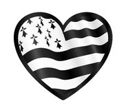 Vector heart shape with black outline and Breton flag inside Stock Photos